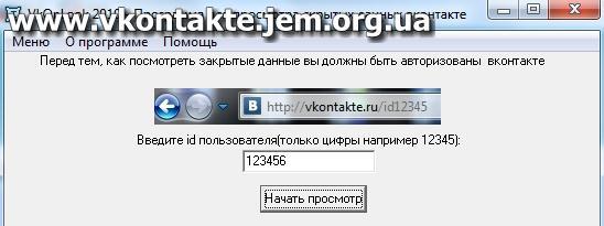 Вводим id VkOnLook